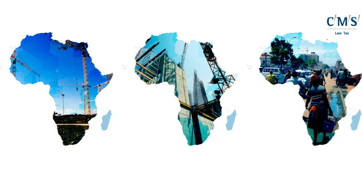 "Three images of Africa showing construction and street life, with a ""CMS Law Tax"" logo"