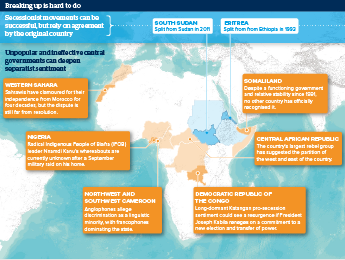 Infographic exploring secessionist movements across Africa
