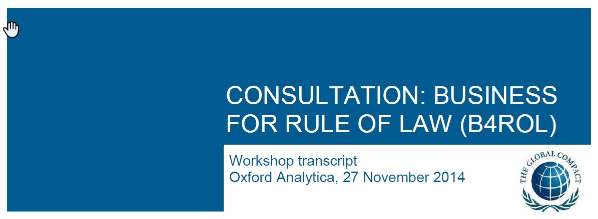 Consultation: Business for Rule of Law (B4ROL)
