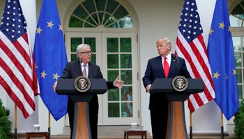 US President Donald Trump and President of the European Commission Jean-Claude Juncker speak about trade relations in the Rose Garden of the White House, July 25 (Reuters/Joshua Roberts)