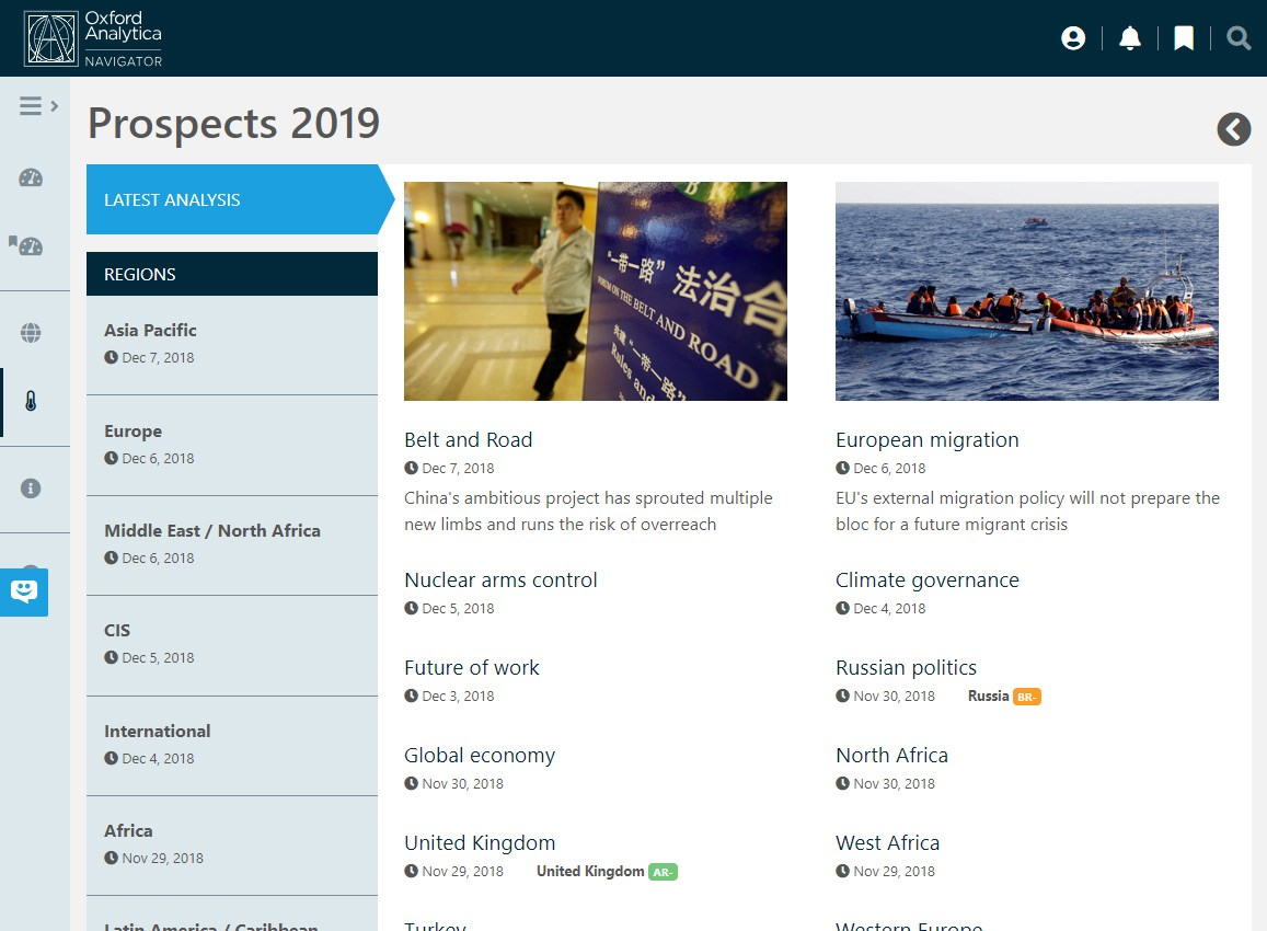 Screenshot highlighting Prospects 2019, our unique preparation for the year ahead, published during November, 2018