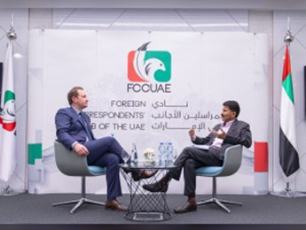David K. Young, Oxford Analytica CEO, and Binsal Abdul Kader, Executive Editor WAM at the Foreign Correspondents' Club in Abu Dhabi