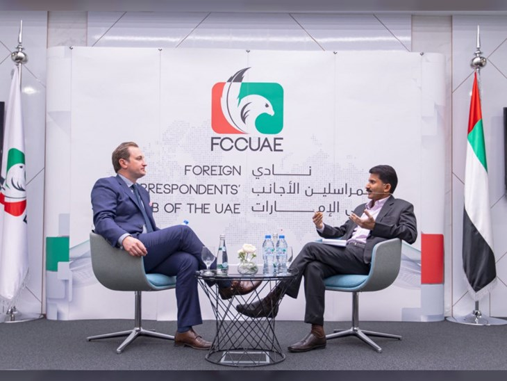 David K. Young, Oxford Analytica CEO, and Binsal Abdul Kader, Executive Editor, WAM at the Foreign Correspondent's Club in Abu Dhabi