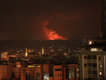 Fires from Israeli air strikes in Gaza, May 10, 2021 (APAImages/Shutterstock)